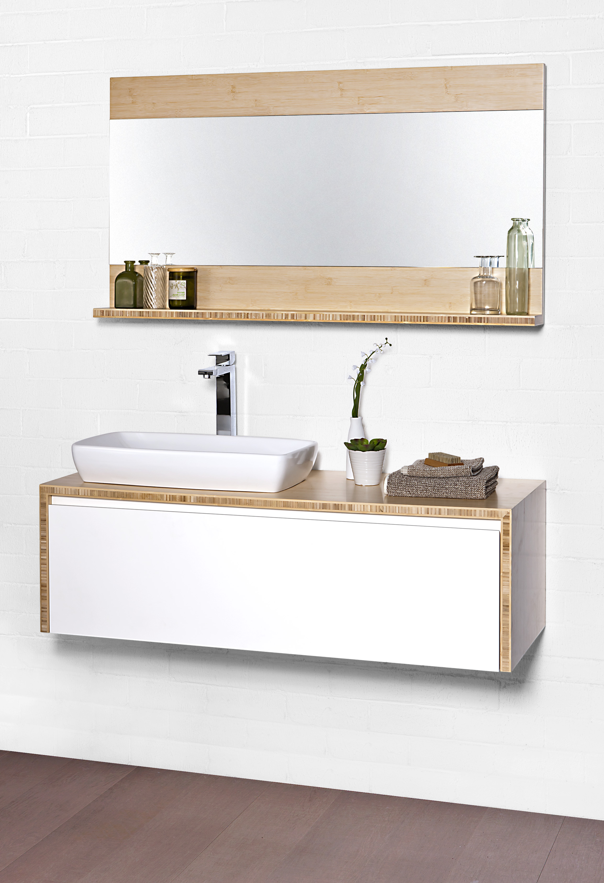 Bamboo Bathroom Mirror With Shelf