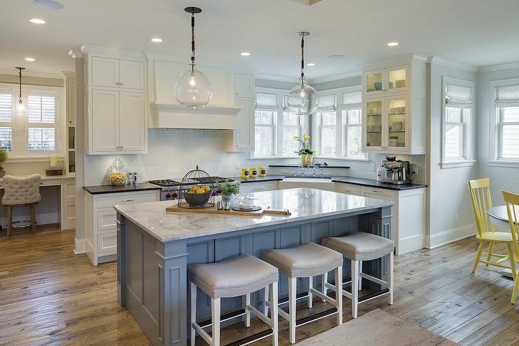 Gray Kitchen Island White And Gray Quartzite Countertops Yellow